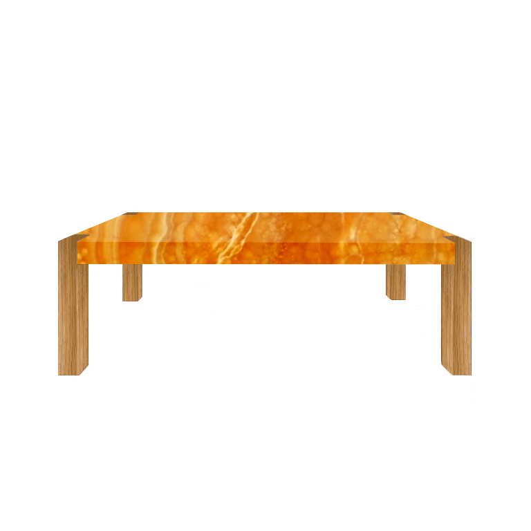 Orange Percopo Solid Onyx Dining Table with Oak Legs
