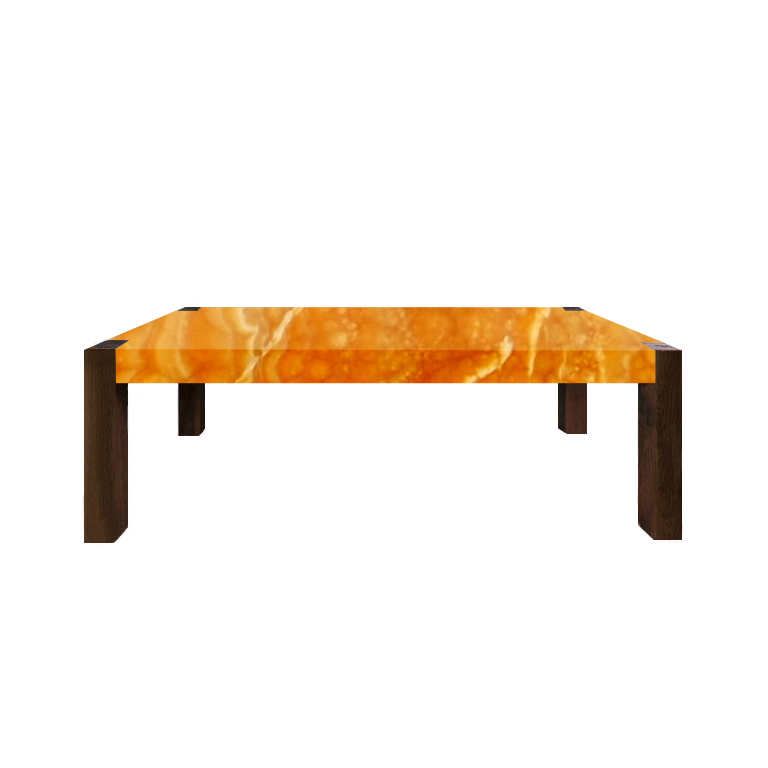 Orange Percopo Solid Onyx Dining Table with Walnut Legs