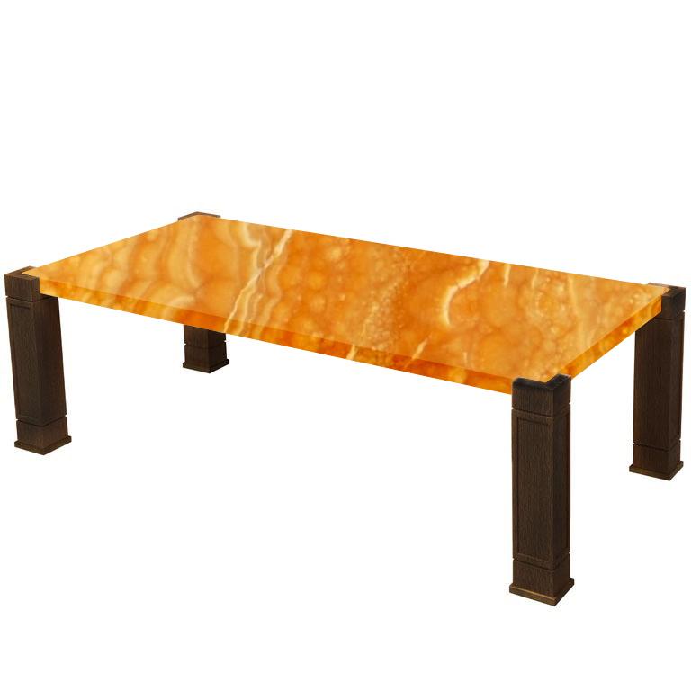 Faubourg Orange Onyx Inlay Coffee Table with Walnut Legs