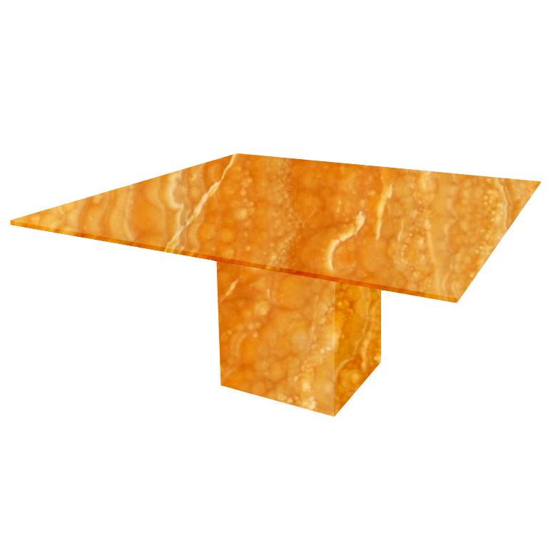 Orange Bergiola Square Onyx Dining Table
