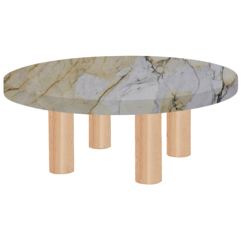 Round Paonazzo Coffee Table with Circular Ash Legs