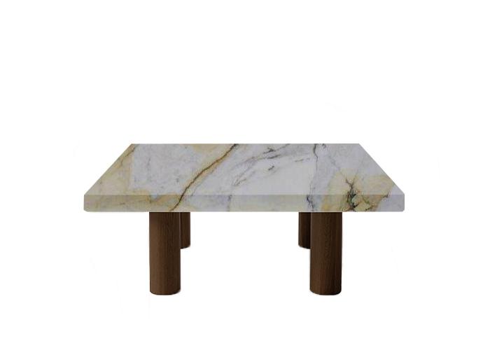 Paonazzo Square Coffee Table with Circular Walnut Legs