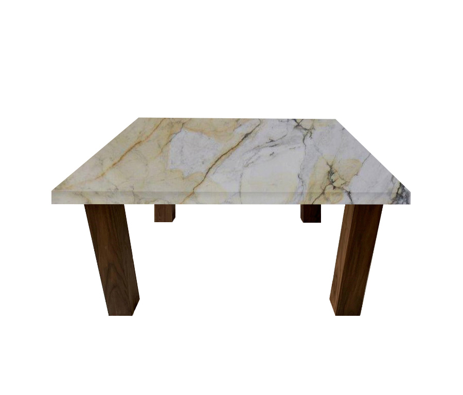 Paonazzo Square Coffee Table with Square Walnut Legs