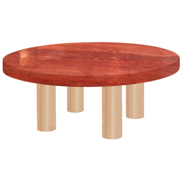 Round Persian Red Travertine Coffee Table with Circular Ash Legs