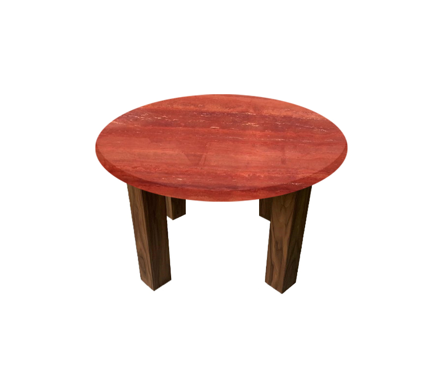 Persian Red Travertine Round Coffee Table with Square Walnut Legs