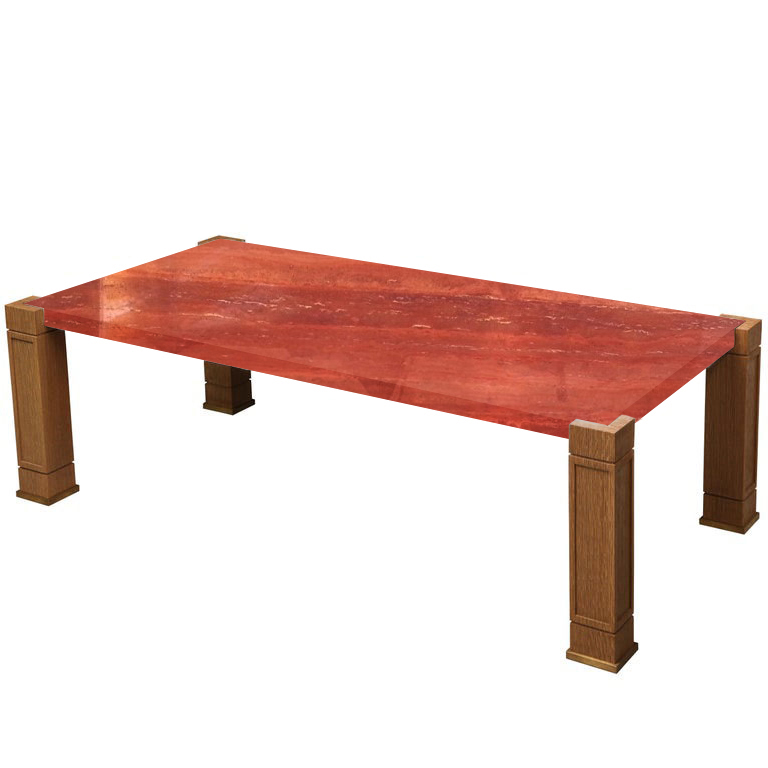 Faubourg Persian Red Travertine Inlay Coffee Table with Oak Legs
