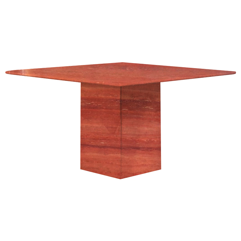 Persian Red Small Square Travertine Dining Table