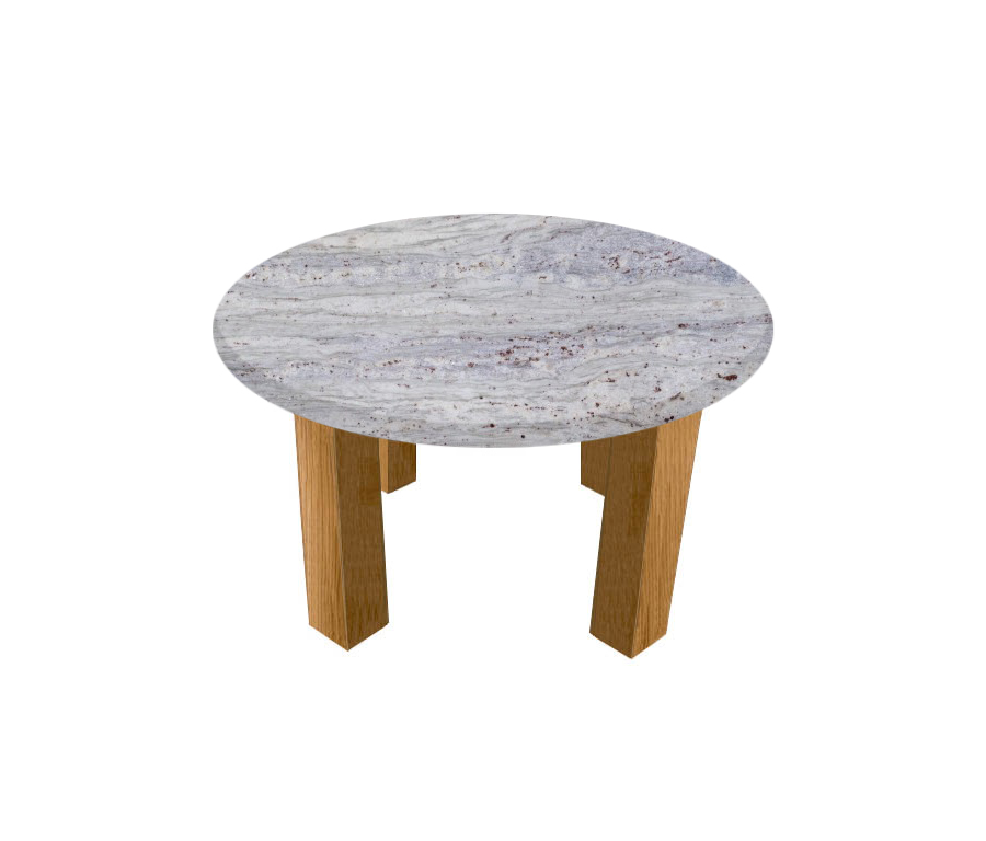 River White Round Coffee Table with Square Oak Legs
