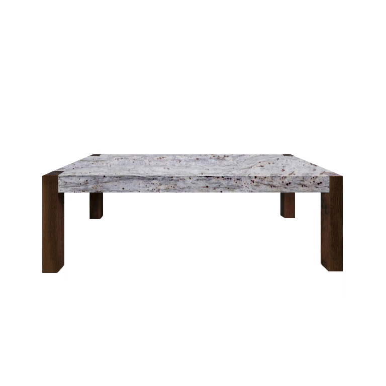 River White Percopo Solid Granite Dining Table with Walnut Legs