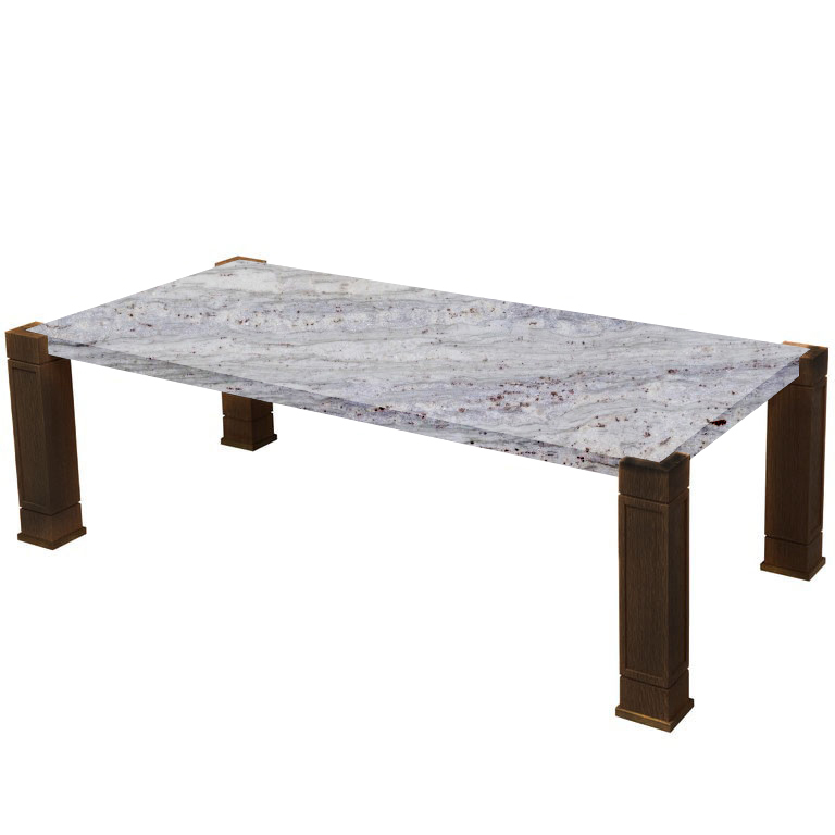 Faubourg River White Inlay Coffee Table with Walnut Legs