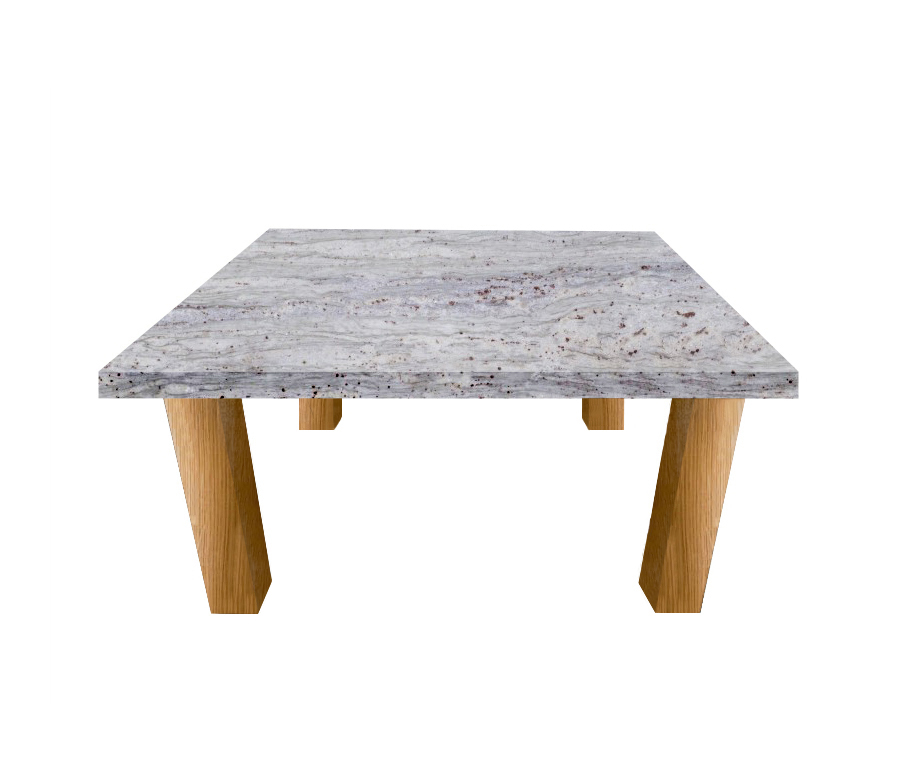 River White Square Coffee Table with Square Oak Legs
