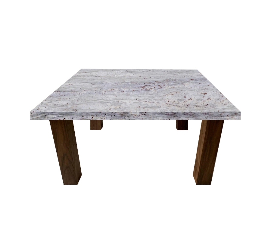 River White Square Coffee Table with Square Walnut Legs