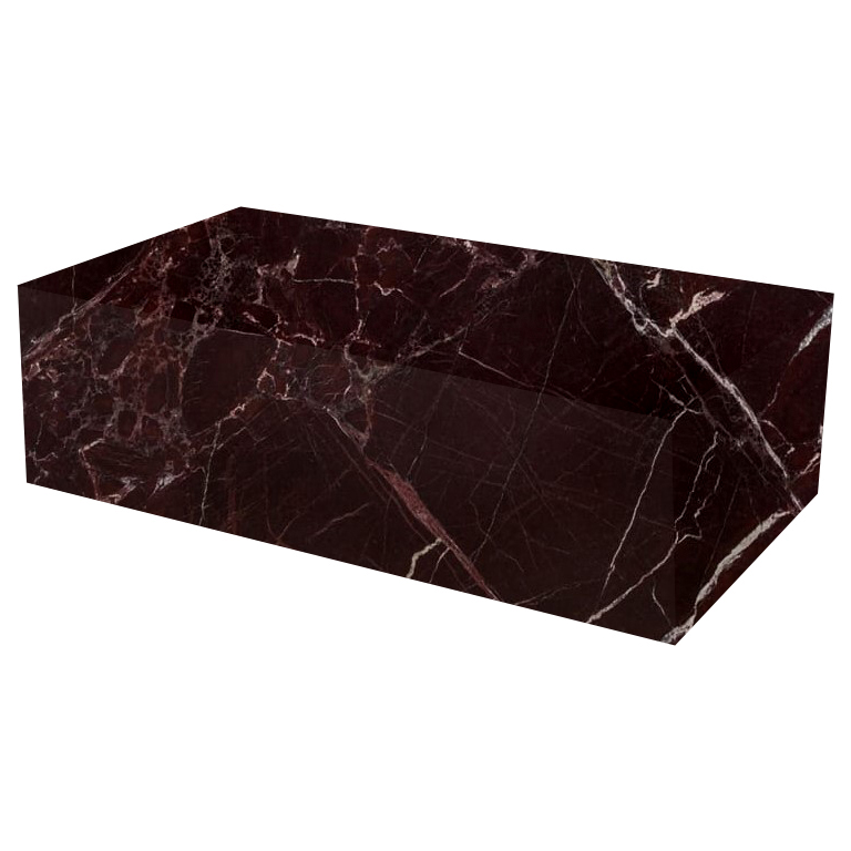 Rosso Levanto Rectangular Solid Marble Coffee Table