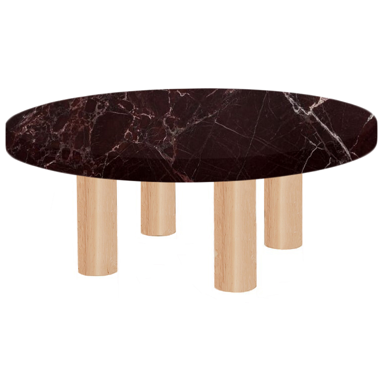 Round Rosso Levanto Coffee Table with Circular Ash Legs