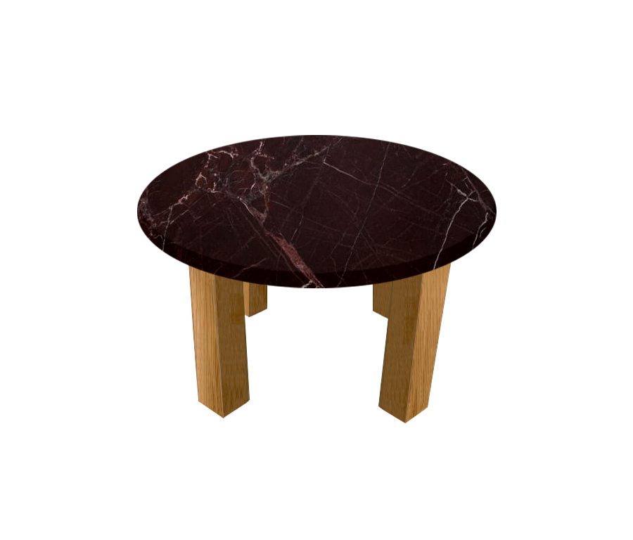 Rosso Levanto Round Coffee Table with Square Oak Legs