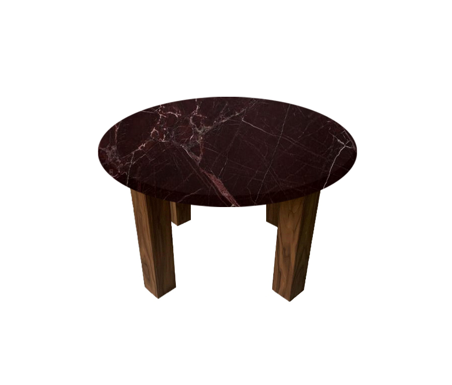 Rosso Levanto Round Coffee Table with Square Walnut Legs