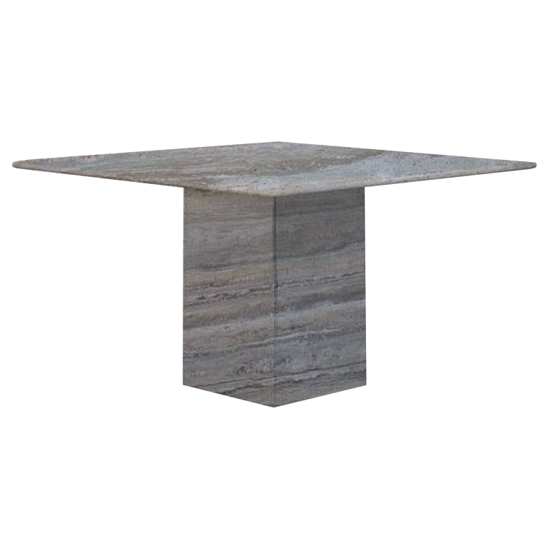 Silver Small Square Travertine Dining Table
