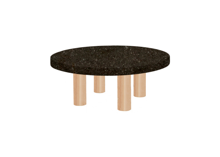 Small Round Antique Brown Coffee Table with Circular Ash Legs
