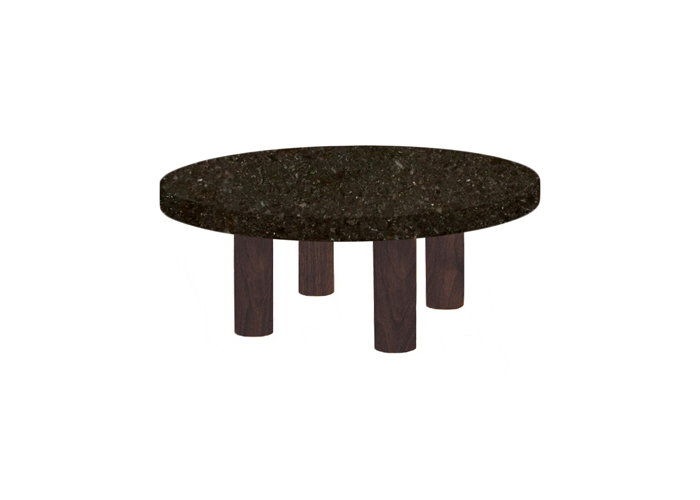 Small Round Antique Brown Coffee Table with Circular Walnut Legs
