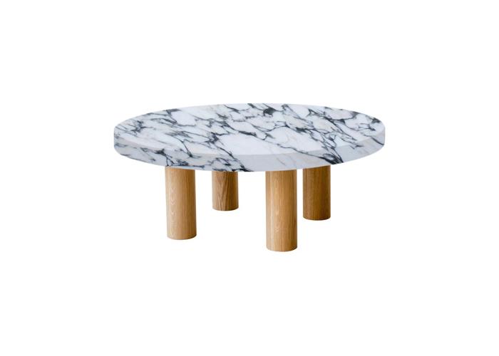 Small Round Arabescato Corchia Coffee Table with Circular Oak Legs
