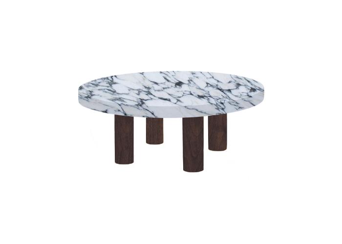 Small Round Arabescato Corchia Coffee Table with Circular Walnut Legs