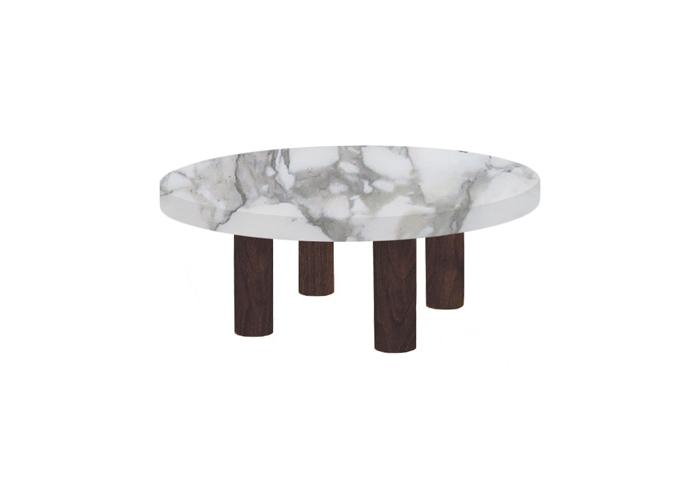 Small Round Arabescato Vagli Coffee Table with Circular Walnut Legs