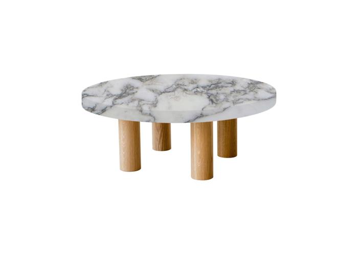 Small Round Arabescato Vagli Extra Coffee Table with Circular Oak Legs