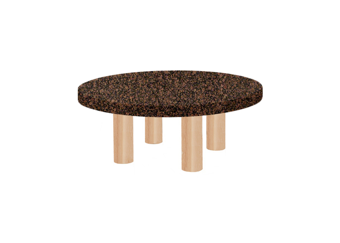 Small Round Baltic Brown Coffee Table with Circular Ash Legs