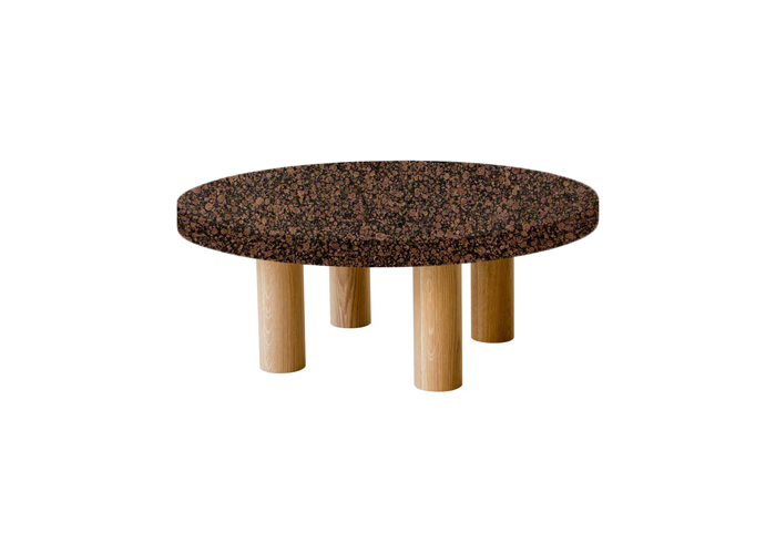 Small Round Baltic Brown Coffee Table with Circular Oak Legs