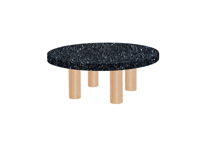 Small Round Blue Pearl Coffee Table with Circular Ash Legs