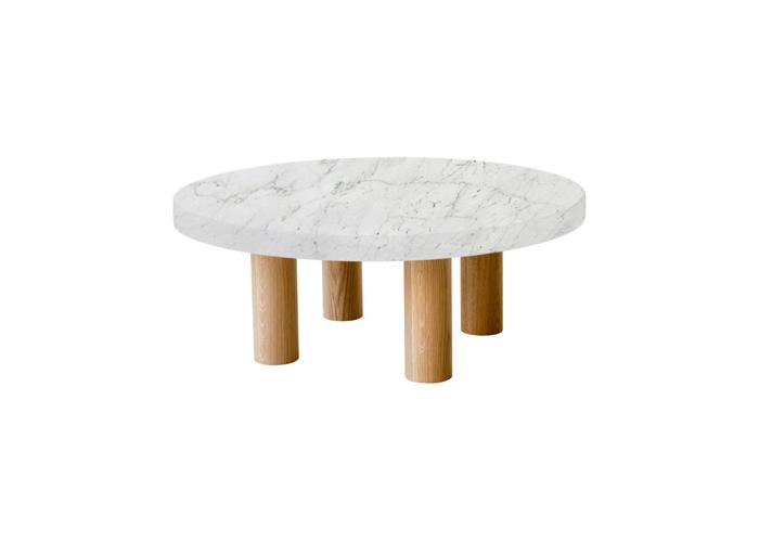 Small Round Calacatta Colorado Coffee Table with Circular Oak Legs