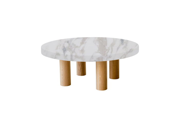 Small Round Calacatta Ivory Coffee Table with Circular Oak Legs