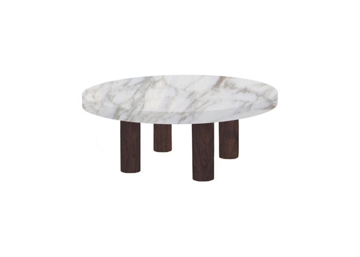 Small Round Calacatta Oro Coffee Table with Circular Walnut Legs