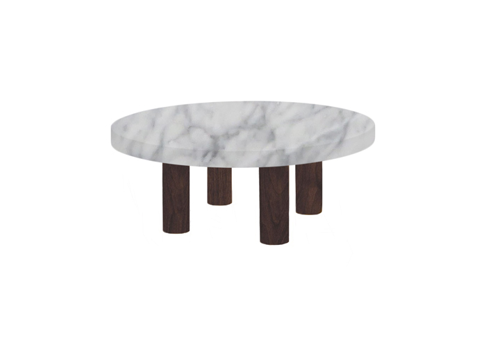Small Round Carrara Marble Coffee Table with Circular Walnut Legs