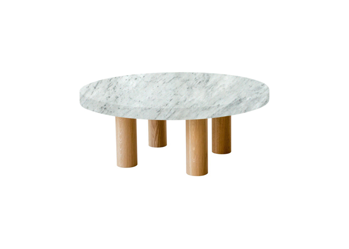 Small Round Carrara Extra Marble Coffee Table with Circular Oak Legs