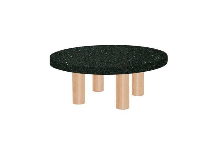 Small Round Emerald Pearl Coffee Table with Circular Ash Legs