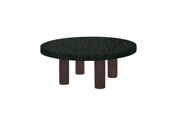 Small Round Emerald Pearl Coffee Table with Circular Walnut Legs