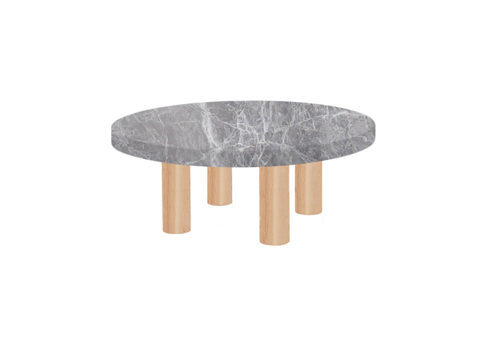 Small Round Emperador Grey Coffee Table with Circular Ash Legs