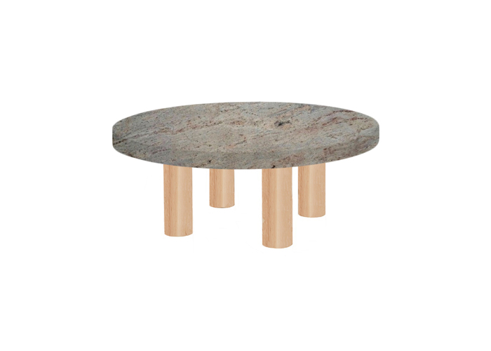 Small Round Ivory Fantasy Coffee Table with Circular Ash Legs