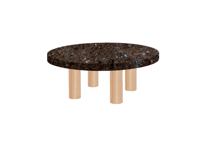 Small Round Labrador Antique Coffee Table with Circular Ash Legs