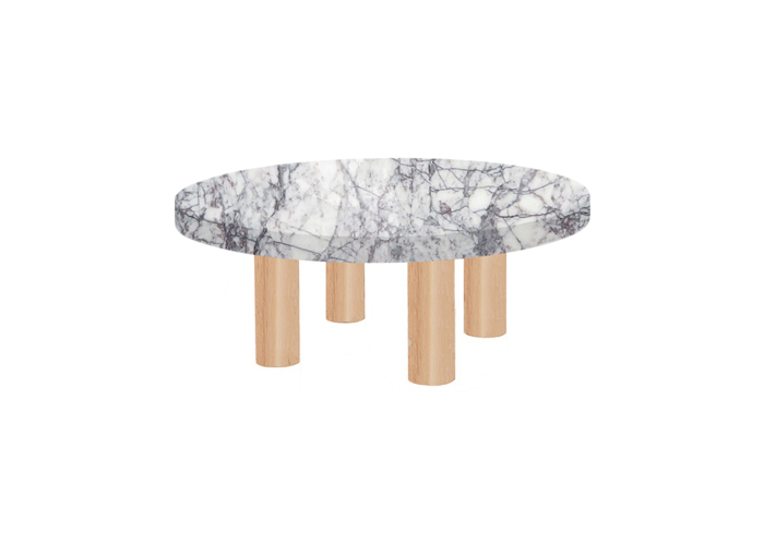 Small Round Lilac Milas Coffee Table with Circular Ash Legs