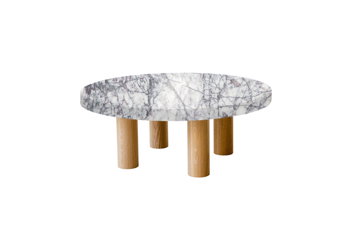 Small Round Lilac Milas Coffee Table with Circular Oak Legs