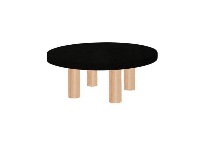Small Round Nero Assoluto Coffee Table with Circular Ash Legs