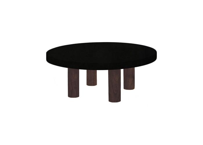 Small Round Nero Assoluto Coffee Table with Circular Walnut Legs