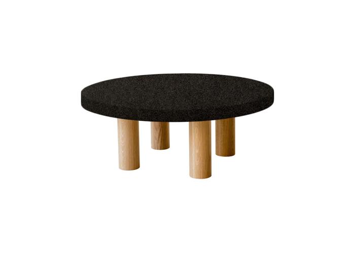 Small Round Nero Impala Coffee Table with Circular Oak Legs