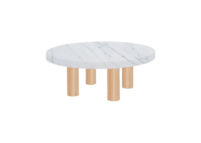 Small Round Statuarietto Extra Coffee Table with Circular Ash Legs