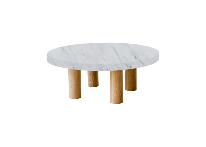 Small Round Statuarietto Extra Coffee Table with Circular Oak Legs