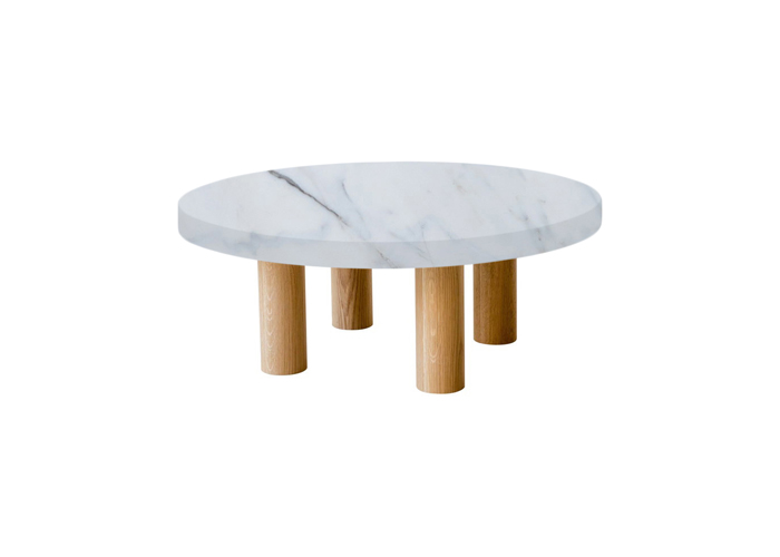 Small Round Statuario Extra Coffee Table with Circular Oak Legs