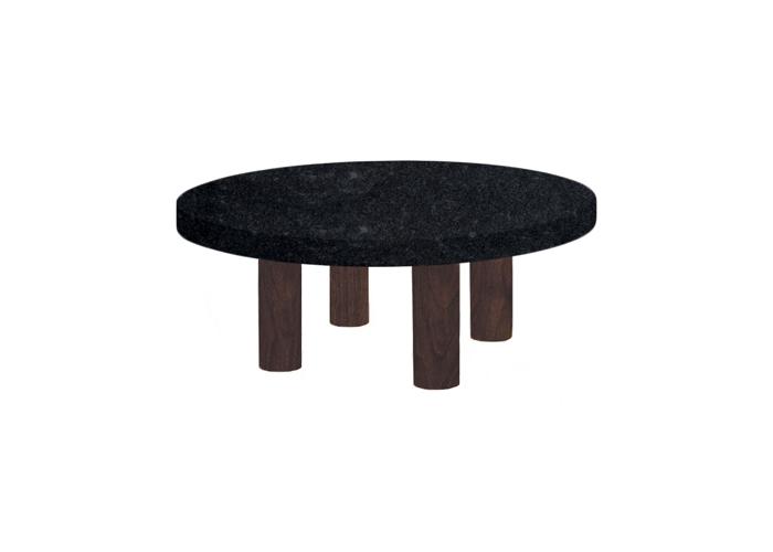 Small Round Steel Grey Coffee Table with Circular Walnut Legs