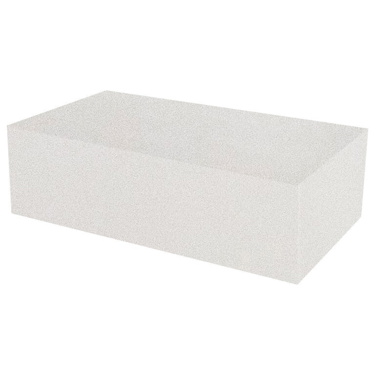 Snow White Rectangular Solid Quartz Coffee Table
